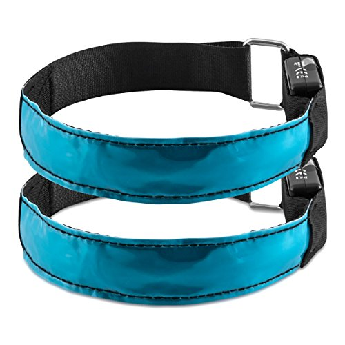 kwmobile 2x LED Leucht Armband - XL Sicherheitsband für Outdoor Sport Joggen Fahrrad Hundehalsband helles Blinklicht reflektierend bei Dunkelheit - blau