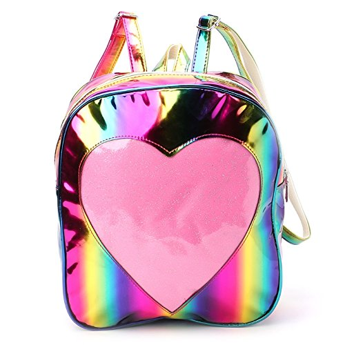 JAGENIE donna olografico zaino per la scuola arcobaleno borsa a tracolla trasparente con cuore Rainbow