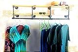 Hlluya Handtuchhalter Massivholz integrierte Ablage Kleiderstange Regal, Regal Handtuchhalter, 150 * 28 * 40