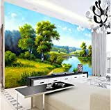Newberli 3D Photo Wallpaper Brand Custom Large Hight Quality Wall Mural Lake Trees Natural Scenery Oil Painting Wall Paper Home Decor