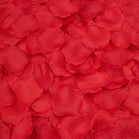 Ineternet 2000pcs Soie Rose Pétales Fleur Artificielle Mariage Faveur Nuptiale de Douche Couloir Decor (Rouge)