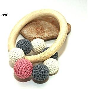 Greifling mit Rassel / Glöckchen Baby grau beige rose, altrosa handgemacht Bio Baumwolle / Schurwolle Holz unbehandelt made in Germany hergestellt in Deutschland