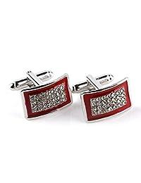 Hosaire Gemelos de Cuadrado Gemelos Camisa Acero Inoxidable Goteo de Aceite Cristal Diamante Color Rojo