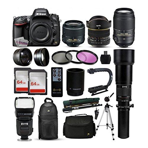 Nikon D610DSLR-Kamera + 18–55mm VR II + 55–300mm VR + 650–2600mm + 128GB + Mehr