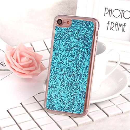 Coque Housse TPU pour Apple iPhone 7,SainCat Transparent Brillante Coque Silicone Etui Housse Brillante,iPhone 7 Silicone Case Soft Gel Cover Anti-Scratch Transparent Case TPU Cover,Fonction Support P Bleu#