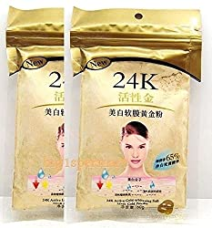24K Gold Mask 2 Packs : 24K Gold Active Face Mask Powder 50g Brightening Luxury Spa Anti Aging Treatment
