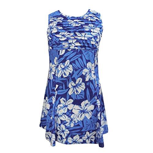 Blumendruck gefaltetes Kleid aus reiner Baumwolle knielangen Sommerkleidung für Damen Blau-3