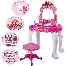 deAO Mesita Tocador Princesa Glamurosa con Espejo, Taburete, Secador de Pelo, Accesorios - Efectos de Luz y Sonido (Mesita)