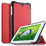 IVSO Acer ICONIA ONE 7 B1-7A0 Hülle, Ultra Schlank Ständer Slim Leder zubehör Schutzhülle perfekt geeignet für Acer ICONIA ONE 7 B1-7A0-K17V Tablet PC, Rot