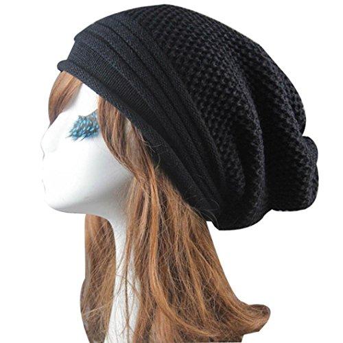Malloom Invierno caliente mujeres hombres hip-hop gorro sombrero holgado esquí Unisex Slouchy Cap Skullies y gorros de punto (negro)
