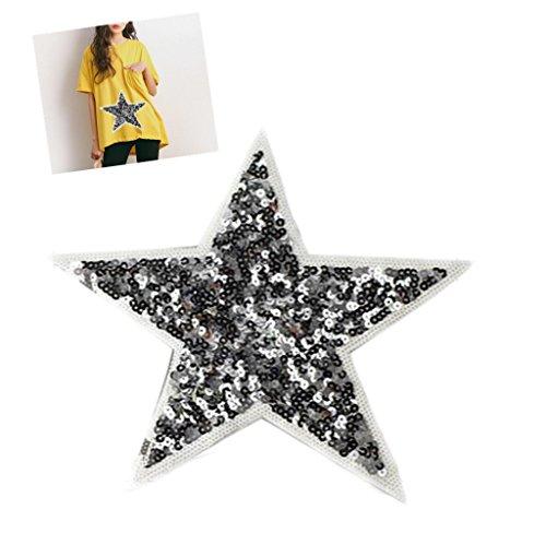 Wicemoon Silber-Pailletten, fünfzackigen Stern-Stoff-Paste mit Loch, fürs Flicken von Kleidung, als Zubehör oder DIY-Dekoration