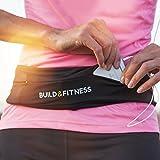 """Cinturón de running y fitness cinturón, funda cinturón con clip para llaves, Fits iphone 6& 7Plus, unisex, para Gimnasio Entrenamiento, ejercicio, Ciclismo, Caminar, Correr, Yoga, deporte, viajes y actividades al aire libre, color negro, tamaño Medium/29""""-33"""" - Build & Fitness - amazon.es"""