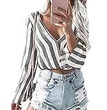 Yutila Damen Crop Top Bluse Tiefer V-Ausschnitt Clubwear Tunika mit Schleife am Rücken Abendmode Oberteil Tops Strand Party