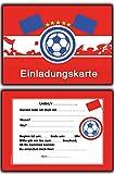8 x Einladungskarten Fussball Rot Weiss Kindergeburtstag Einladung Einladungen Karte Einladungs-Set Motto