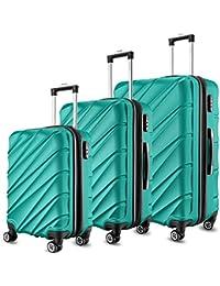 SHAIK® 3-tlg. DESIGN Hartschalen Kofferset, Trolley, Koffer, Reisekoffer, 40/78/124 Liter, 4 Doppelrollen, 25% mehr Volumen durch Dehnfalte