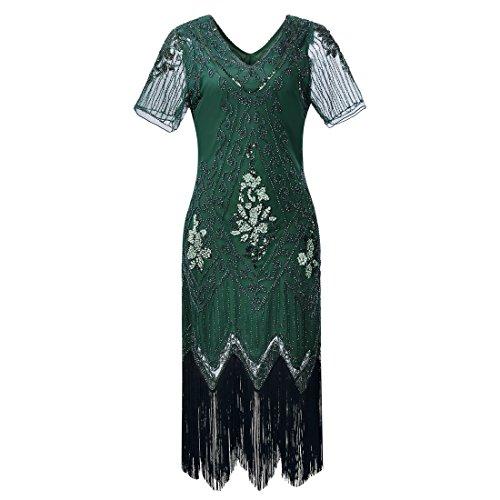 intage 1920er Flapper Kleider mit Pailletten Perlen für Frauen Cocktail Party ()