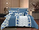 #5: Trance Home Linen 100 % Cotton Premium Printed King Double Fitted Bedsheet with2 pillow covers - Blue Grey