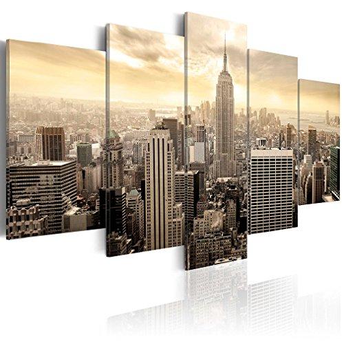 decomonkey | Bilder New York Panorama gelb 200x100 cm XXL | 5 Teilig | Leinwandbilder | Vlies Leinwand | Wandbilder | Wand | Bild auf Leinwand | Wandbild | Kunstdruck | Wanddeko | Stadt City Architektur | DKB0006a5XL