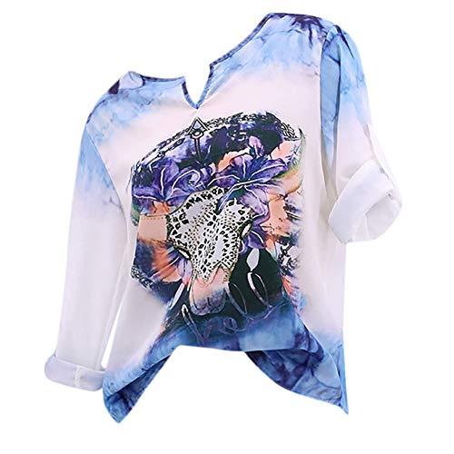 TianWlio Frauen Langarmshirt Bluse Hoodie Pullover Langarmshirt Kapuzenpullover Sweatshirt Herbst Lässige Bull Kopf Gedruckt Langarm T-Shirt Top mit V-Ausschnitt Bluse
