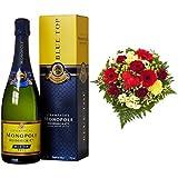 Monopole Heidsieck Blue Top Brut Champagner + Blumenstrauß Herzensfreude