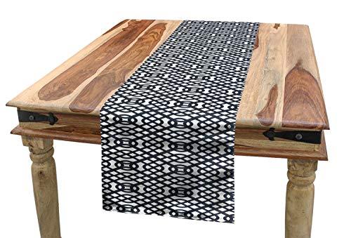 ABAKUHAUS Geometrisch Tischläufer, Interline-Linien, Esszimmer Küche Rechteckiger Dekorativer Tischläufer, 40 x 225 cm, Anthrazit grau Weiß
