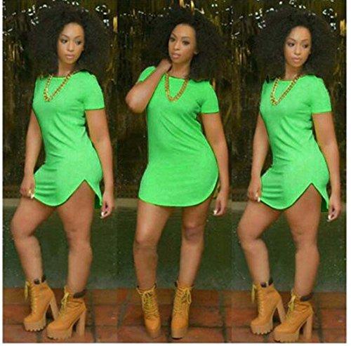 Frauen unregelmäßig plus Größe Normallack Kleid Rundhals Seitenschlitz Kleider Grün