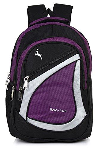 Bag-Age Polyester 30 Ltr Purple-Black School Backpack