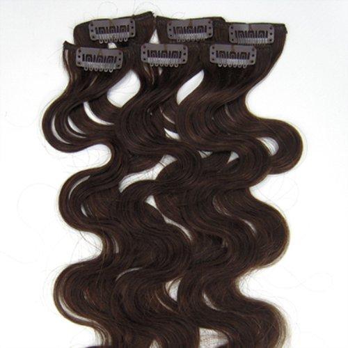 100% cheveux remy Lot de 6 50,8 cm Brun moyen (# 04) ondulés Cheveux Clip dans Extension de cheveux humains Poids : 36 G