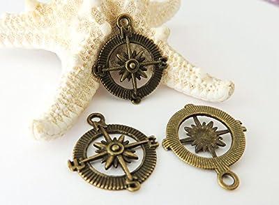 Lot de 20 Breloques pendentifs boussole en bronze antique - 29,5x24,5x3 mm