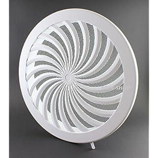 Lüftungsgitter Ø 315 mm Abschlussgitter Insektenschutz rund weiß verschließbar Luftmenge regelbar Abluftgitter Abluft Zuluft Insektennetz 31,5 cm Gitter T87