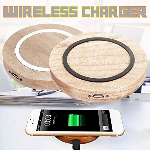 Meco White : Qi Wooden Ring Wireless Charger Circle Mat Charging For Samsung & Enabled Phone