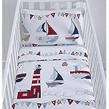 Reversible Funda de edredón y funda de almohada para cuna (–de temática náutica. 90cm x 120cm