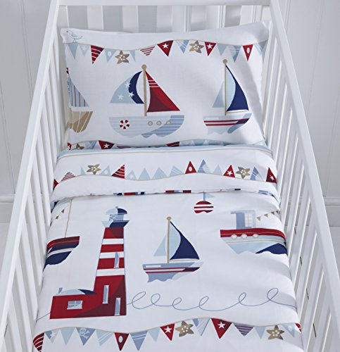 Reversible Nautical Themed Cot Duvet Cover and Pillowcase Set - 90cm x 120cm
