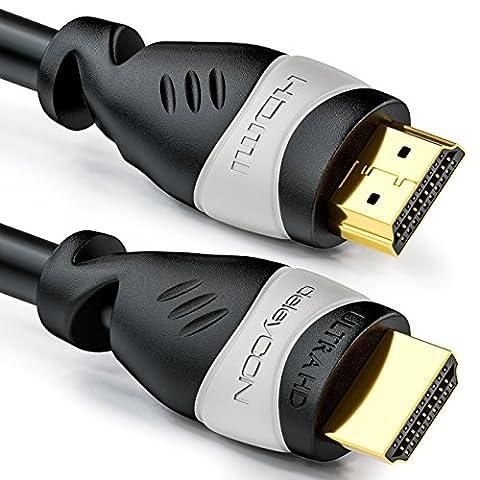 deleyCON 15m câble HDMI HDMI 2.0 / 1.4 compatible High Speed avec Ethernet (standards les plus récents) ARC 3D Ultra HD (1080p/2160p)