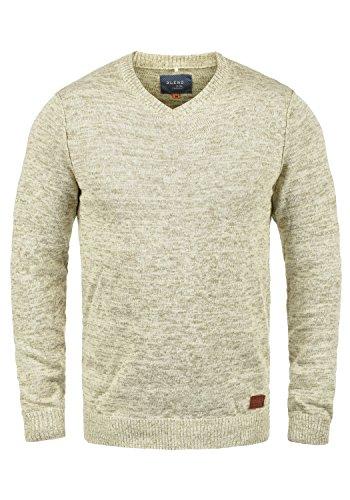 Blend Dansel Herren Strickpullover Feinstrick Pullover Mit V-Ausschnitt Und Melierung, Größe:XXL, Farbe:Bone White (70016) -