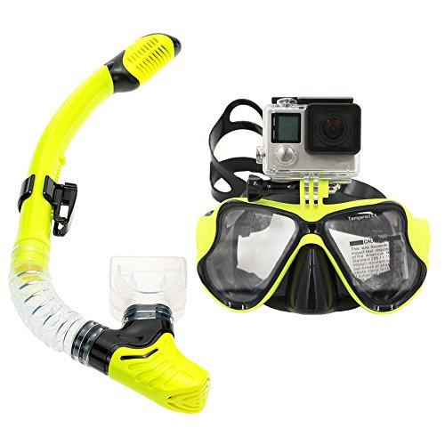 Supporto per fotocamera, da applicare sulla maschera, tubo per respirare Scuba-Set maschera e boccaglio da (Snorkel Flessibile)