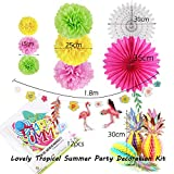 Easy Joy Summer Party Hawaii Mottoparty Ananas Tischdeko Flamingo Girlande Kokosnuß Foto Requisiten Geburtstagsdeko Kit Bunt - 3