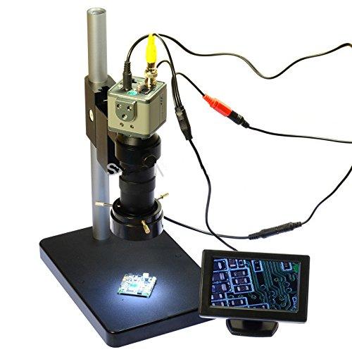 800TVL 130x Mikroskop Industrie Kamera BNC/AV-Ausgang + 10,9cm LCD Monitor + Ständer Halterung + C-Mount Objektiv + 40LED-Ring rechts Bnc-mount