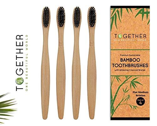Together Premium Bambus-Zahnbürsten, umweltfreundlich und biologisch abbaubar, nachhaltig angebaute Bambus- und BPA-freie Borsten, ergonomisches Design, mittlere Borsten, 4 Stück -
