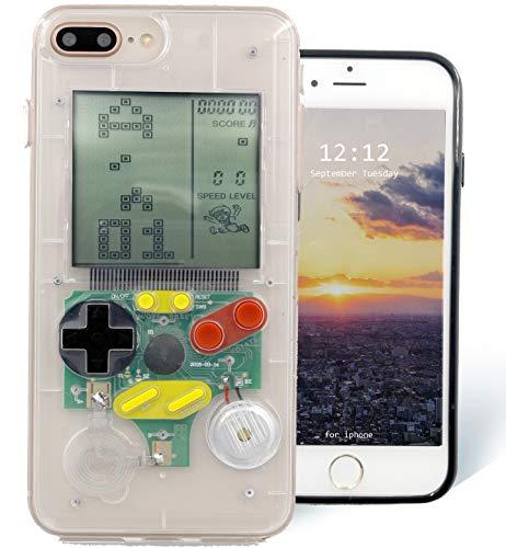 F-fish gameboy case cover per iphone 6 / 6s / 7/8 plus [versione di aggiornamento] custodia abs + tpu per il gioco classico [gameboy] [tetris] (iphone 6/7/8, trasparente)