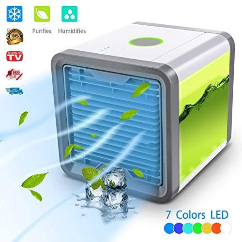 Enfriador de aire–aire acondicionado portátil 3en 1ajustable Air aire acondicionado ventilador de aire con refrigeración del agua aire acondicionado de cámara Ventilador USB Air purificador 7Color LED–3niveles de ventilación by lhwy