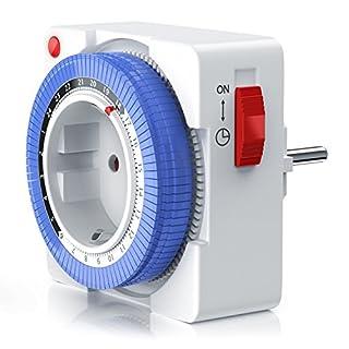 CSL – mechanische Zeitschaltuhr | 24 Stunden Timer | 96 Schaltsegmente | Schieberegler für Zeitangabe | 3680W | Kinderschutzsicherung
