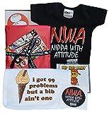 NWA Baby Geschenk-Box Nippa mit Attitude Strampler, 99Probleme Lätzchen, HipHop Musik-CD & Aufkleber