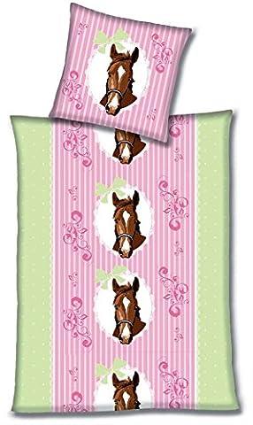Aminata Kids - liebevolle Mädchen-Biber-Kinder-Bettwäsche 135x200 Pferde-Motiv rosa grün Feinbiber Flanell Pferde-Bettwäsche-Kinder rosa grün