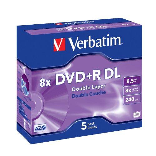 dvd 8gb Verbatim DVD+R Rohlinge 8x Double Layer 8,5GB Jewel Case 5er Pack kratzfest