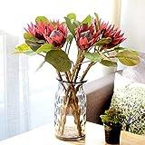 Gracorgzjs 1 Stück King Protea Kunstpflanze DIY Hochzeit Bouquet Party Decor Künstliche Blumen weinrot