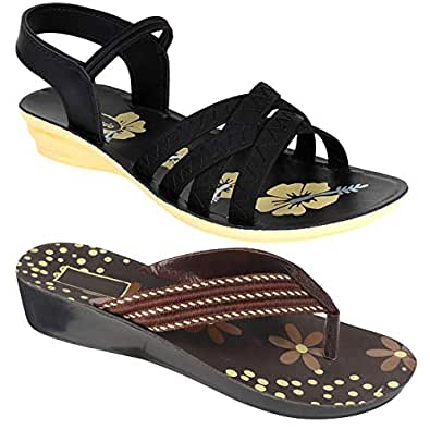 Shoefly Women Multicolour Latest Collection Stylish Sandal & Slippers-Pack of 2 (Combo-(2)-5017-983)