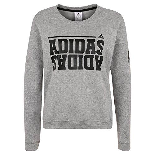 adidas Damen Sweatshirt, Grau/Weiß, XS, AB5523 (Print-gerippte Strickjacke)