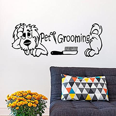 Pet Grooming para pared Perro Grooming salón adhesivos pegatinas de vinilo Puppy Pet Shop Animal Arte de Pared Dormitorio Diseño Interior (color marrón oscuro, 22