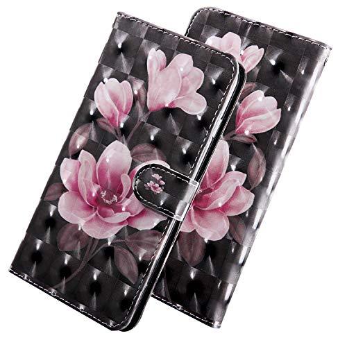 ShinyCase PU Leder Handyhülle für Samsung Galaxy A20e Bling 3D Bunt Brieftasche Wallet Flip Ledertasche im Brieftasche-Stil Pinke Blume Muster Handytasche für Samsung Galaxy A20e/SM-A202F/DS Sm Blume